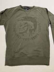Diesel Only The Brave Olive Green Raglan Sweatshirt M