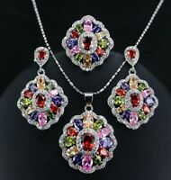 Colorful Flower 925 Silver Cut Oval Topaz Gemstone Necklace Earrings Ring Set