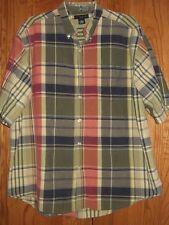 Men's Ivy Crew XXL S/S Plaid Shirt Green Yellow Red