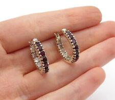 925 Sterling Silver - Petite Garnet Round 7 Stone Hoop Earrings - E8195