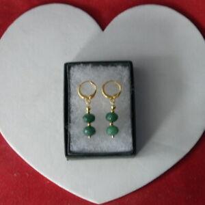 Nice Gold Plated Earrings With Brazilian Emerald Gems 2.2 Cm Long + Hooks In Box