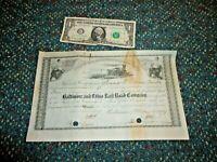 1879 Baltimore & Ohio B&O Railroad Stock Certificate in good cancelled shape