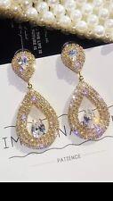 GOLD Crystal Cubic Zirconia Light Weight Earrings Evening Wedding Earrings