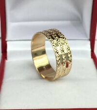 18k Solid Yellow Gold Big Band Ring, Diamond Cut.Sz 8.25 3.57Grams