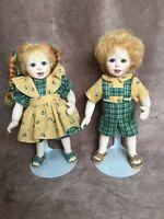 "Gail McCardle ARTIST ORIGINAL 7"" Bisque Dolls Boy & Girl Mohair Freckles OOAK"