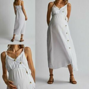 NEW RRP £28 Ex Dorothy Perkins Maternity White Button Front Slip Dress