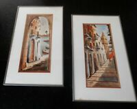 Two original VINTAGE watercolor Paintings of old Europe by Spanish artist Goyo
