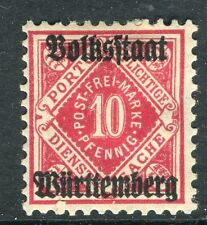 WURTTEMBERG;  1919 Official VOLKSSTAAT Optd. mint hinged 10pf. SP-245356