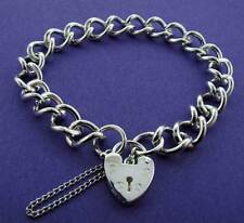 STERLING SILVER CHARM BRACELET LADIES CURB CHAIN HEART PADLOCK SAFETY CHAIN BOX