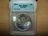 2011 ICG-MS66 Canada Maple Leaf .999 Fine Silver