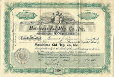 New Jersey 1902, Matchless Kid Mfg. Co. Inc., Stock Certificate