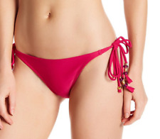PilyQ Dahlia Magenta Double Tie Bikini Bottom Size Small Beaded New
