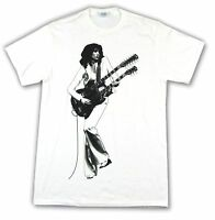 Led Zeppelin Double Guitar Jimmy Page White T Shirt New Official Band Merch