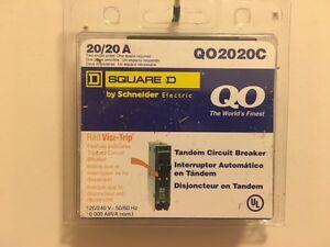 Square D Circuit Breaker QO2020C 2P 20A NEW (NO HOOK)