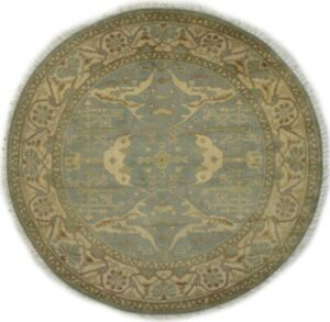 Muted Gray Hand-Knotted Floral 8X8 Oriental Oushak Large Round Rug Decor Carpet