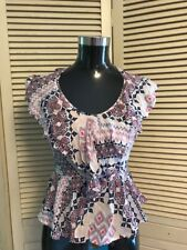 Express Halter Top Blouse White Purple Pink Size XS Backless Geometric