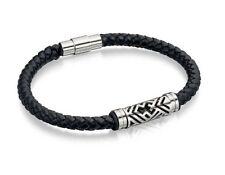 Fred Bennett Gents Stainless Steel Black Leather Bracelet B4725