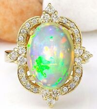 5.68CTW NATURAL OPAL AND DIAMOND RING IN 14K YELLOW GOLD