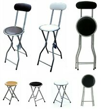 Folding Stools High Chair Home Kitchen Breakfast Padded Wood Top Bar Stools New
