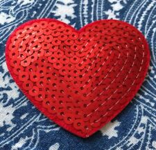 Red Love Heart Sequin Embroidered Iron On SewOn Patch Applique Motif Badge B3G1F