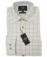 Viyella Tattersall Shirt 80 Cotton 20 Wool Lovat 15.5 Vy0110-168-15h
