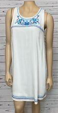 Flying Tomato White Embroidered Shift Dress Lined Size Medium Sleeveless
