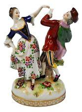 ANTIQUE LUDWIGSBURG PORCELAIN FIGURINE MAN LADY DANCING COUPLE