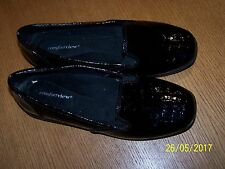 COMFORTVIEW BRAND BLACK PATENT SYNTHETIC TEXTURED LOAFERS SIZE 7.5M EUC
