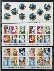 3 anciens carnets timbres autocollants neufs français : 63,00 € de côte