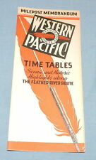 1939 Western Pacific Milepost Memorandum Time Tables - C2971