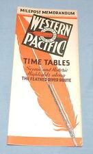 1939 Western Pacific Milepost Memorandum Time Tables - C2971