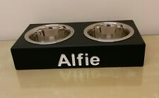 WOODEN CAT BOWL PERSONALISED FEEDING STATION ELEVATED STAND RAISED DOUBLE BOWLS