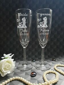 Personalised Engraved Wedding Champagne Flutes, Bride Groom Pair Wedding Glasses