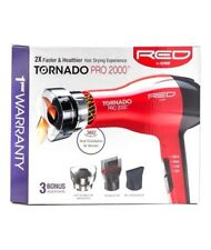 Red by Kiss Tornado Pro 2000 Style Hair Blow Dryer w/ 3 Attachments NEW