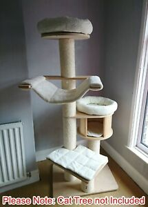 Handmade CREAM BEIGE Removable Cat Bed Replacement Set for Natural Paradise XL
