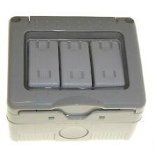 Waterproof Weatherproof triple Outside Switch 3 Gang 2 Way IP55 Soft Membrane 3G