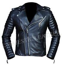 Men's Diamond Quilted Kay Michael Soft Leather Black Slim Fit Biker Jacket- BNWT