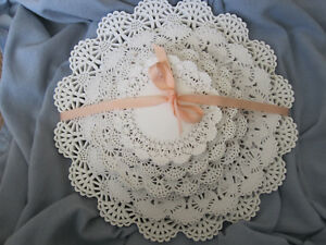 """100 pc 💜 Asst White Paper Lace Doily Round Variety Pk 20 ea 4"""" 5"""" 6"""" 8"""" 10"""" LOT"""