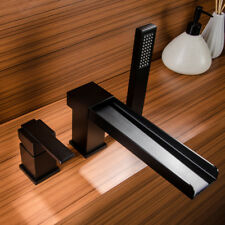 Contemporary Deck-Mount Waterfall Faucet Black Bath Tub Mixer Tap & Hand Shower