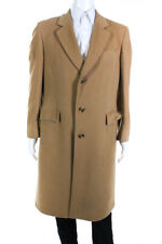Designer Cashmere Long Button Down Coat Brown Size Large