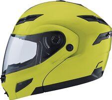 2X GMAX GM54s HI-VIS YELLOW MODULAR  Helmet LED Motorcycle