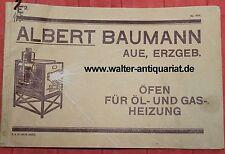 Katalog Albert Baumann Aue Erzgebirge Öfen für Öl- und Gas-Heizung 1913 Reklame