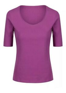 Brand New M&S Womens Pure Cotton 1/2 Sleeve Scoop Neck Top M&S T Shirt size 8