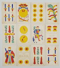 Antique 1800s Spanish Suited Cadiz Pattern Playing Cards Full 48 Card Set