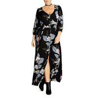 City Chic Womens Blossom Black Floral V-Neck Maxi Dress Plus Size 14, 22, 24
