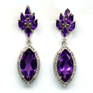 NATURAL PURPLE AMETHYST & WHITE CZ 925 STERLING SILVER EARRINGS