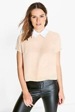 Vintage Crop Top Contrast Collared Blouse Wednesday Adams Style Top- White/Beige