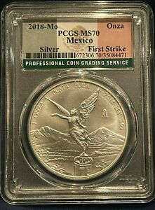 2018 Mexico Libertad Silver 1 Ounce Onza PCGS MS70 FIRST STRIKE FLAG LABEL
