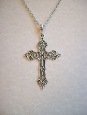 LARGE ANTIQUE SILVER GOTHIC CROSS PENDANT ON LONG CHAIN