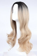 Fashion Women Long Wavy Wig Ombre Black/Blonde Synthetic Hair Cosplay Full Wigs